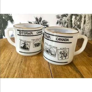 (2) Vintage Milk Glass Mugs Cups Ottawa, CANADA